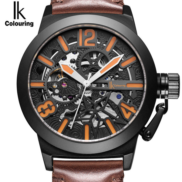 Treat yourself to a IK Colouring Brand Mechanical Hand Wind Watch Hollow Luminous Hardlex Full Stainless Steel Orange WIth Brown Leather