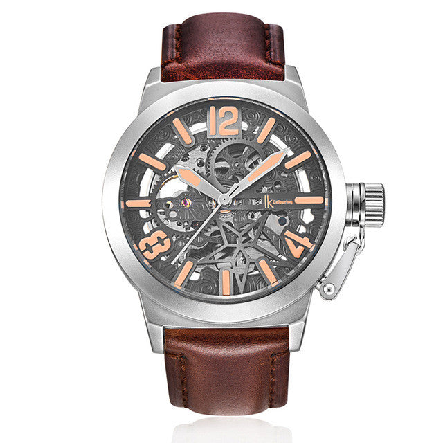 IK Colouring Brand Mechanical Hand Wind Watch Hollow Luminous Hardlex Full Stainless Steel Grey Rose Brown Leather