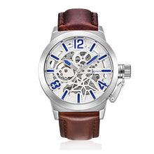 Treat yourself to a IK Colouring Brand Mechanical Hand Wind Watch Hollow Luminous Hardlex Full Stainless Steel White Brown Leather