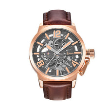 IK Colouring Brand Mechanical Hand Wind Watch Hollow Luminous Hardlex Full Stainless Steel Grey Rose Case Rose Brown Leather