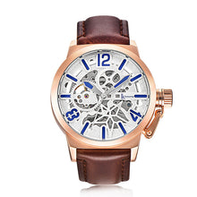 IK Colouring Brand Mechanical Hand Wind Watch Hollow Luminous Hardlex Full Stainless Steel White Rose Brown Leather
