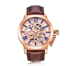 IK Colouring Brand Mechanical Hand Wind Watch Hollow Luminous Hardlex Full Stainless Steel Rose Brown Leather