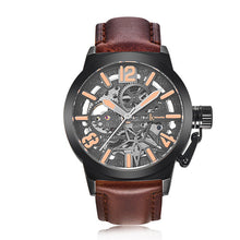 IK Colouring Brand Mechanical Hand Wind Watch Hollow Luminous Hardlex Full Stainless Steel Grey Brown Leather