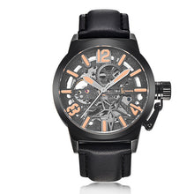 IK Colouring Brand Mechanical Hand Wind Watch Hollow Luminous Hardlex Full Stainless Steel Grey Rose Black Leather