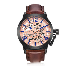 Treat yourself to a IK Colouring Brand Mechanical Hand Wind Watch Hollow Luminous Hardlex Full Stainless Steel Rose Blue Brown Leather