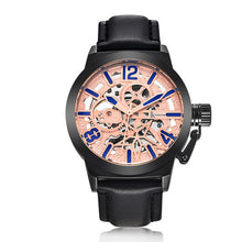 Treat yourself to a IK Colouring Brand Mechanical Hand Wind Watch Hollow Luminous Hardlex Full Stainless Steel Treat yourself to a IK Colouring Brand Mechanical Hand Wind Watch Hollow Luminous Hardlex Full Stainless Steel Rose Blue Black Leather