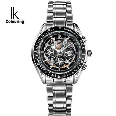 IK Colouring Men Watch Luxury Brand Mechanical Watches Skeleton Full Steel Fashion