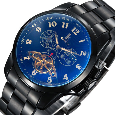 IK Colouring Men Automatic Self-Wind Mechanical Watches Full Steel Moon Phase Fashion Black Stainless