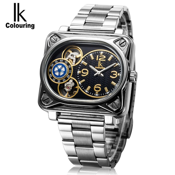 IK Colouring Tourbillon Men's Erkek Kol Saati Square Automatic Mechanical Wristwatch