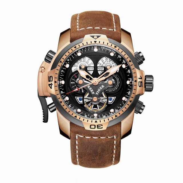 Reef Tiger/RT Men's Sports Chronograph Black Dial Brown Suede Leather Strap Automatic RGA3503 - Levers Escape- Men's/Women's Luxury Watches, Fashion Items, Accessories, Literature & More