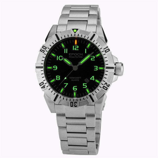 EPOCH 6020G steel strap waterproof 100m tritium gas tubes luminous sport diving quartz watch - Levers Escape- Men's/Women's Luxury Watches, Fashion Items, Accessories, Literature & More