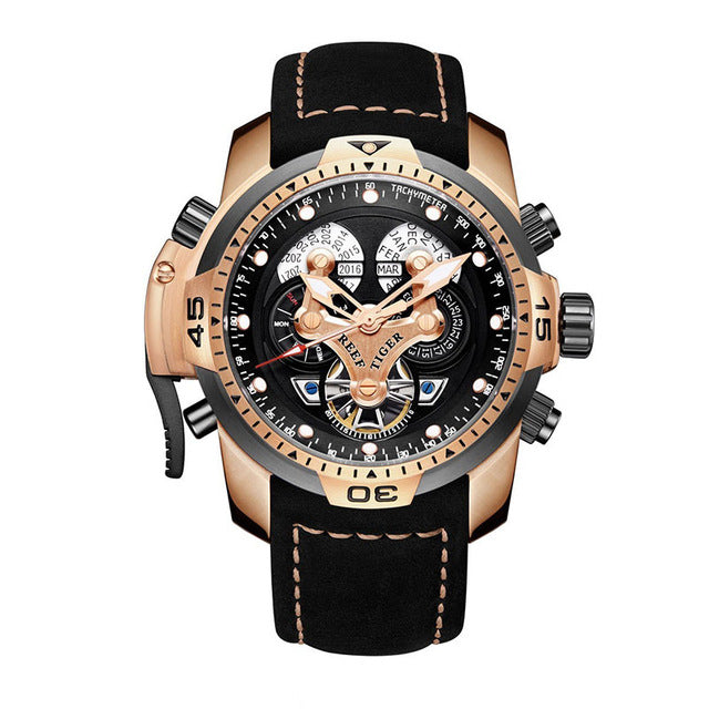 Reef Tiger/RT Men's Sports Chronograph  Black Dial Brown Accents Black Strap Automatic RGA3503 - Levers Escape- Men's/Women's Luxury Watches, Fashion Items, Accessories, Literature & More