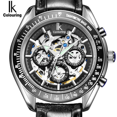 IK Luxury Men's Watches Sub Dial function Date 24 hours Display Genuine Leather - Levers Escape- Men's/Women's Luxury Watches, Fashion Items, Accessories, Literature & More