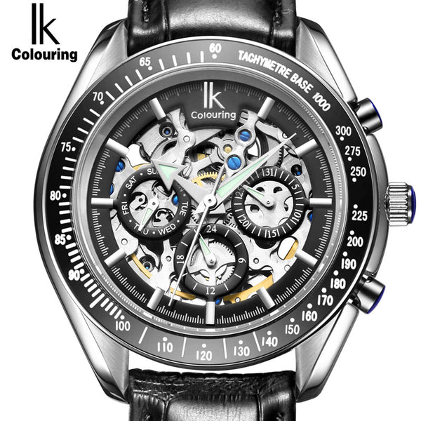 IK Luxury Automatic Mechanical Watches Men's Sub Dial function Date 24 hours Display Genuine Leather - Levers Escape- Mens and Women's Luxury Watches, Fashion Accessories & Literature
