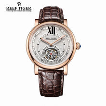 Reef Tiger/RT Casual Designer Watch for Men Tourbillon Automatic Watch with Blue Crystal Crown Alligator Strap Watches RGA192 - Levers Escape- Mens and Women's Luxury Watches, Fashion Accessories & Literature