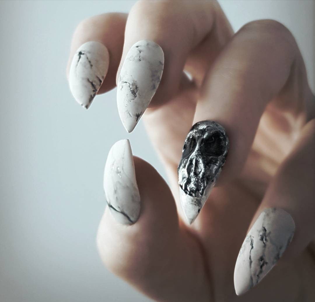 Matte marble with 3D skull accent – Perfect 10 Custom Nails