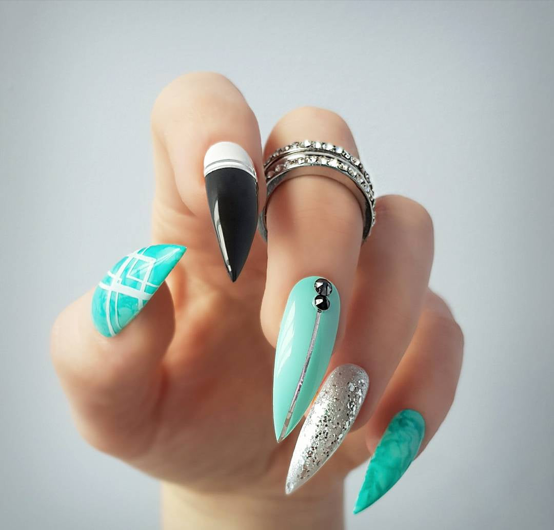 Marine teal and black with silver accents