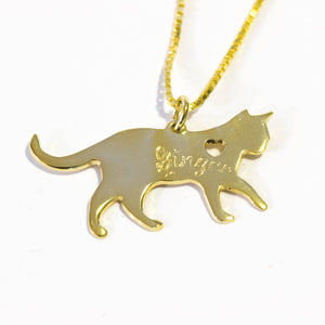 14k gold cat necklace engraved cat necklace cat shape necklace 14k gold pet necklace cat necklace