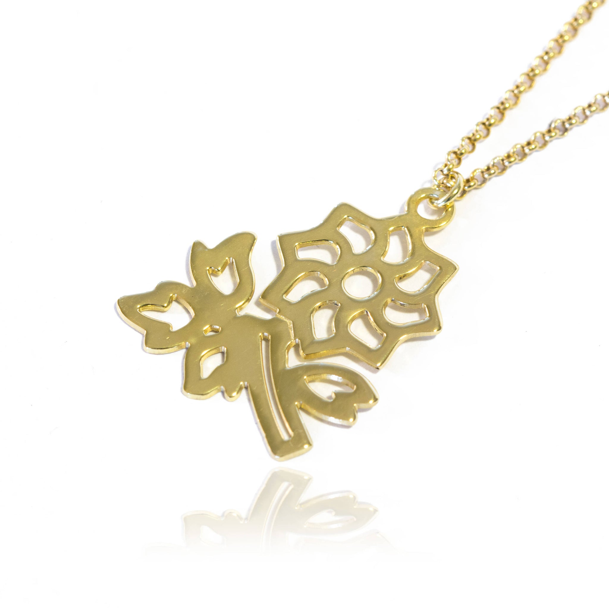 14k Gold Lotus Flower Necklace Gold Lotus Flower Pendant 14k Gold