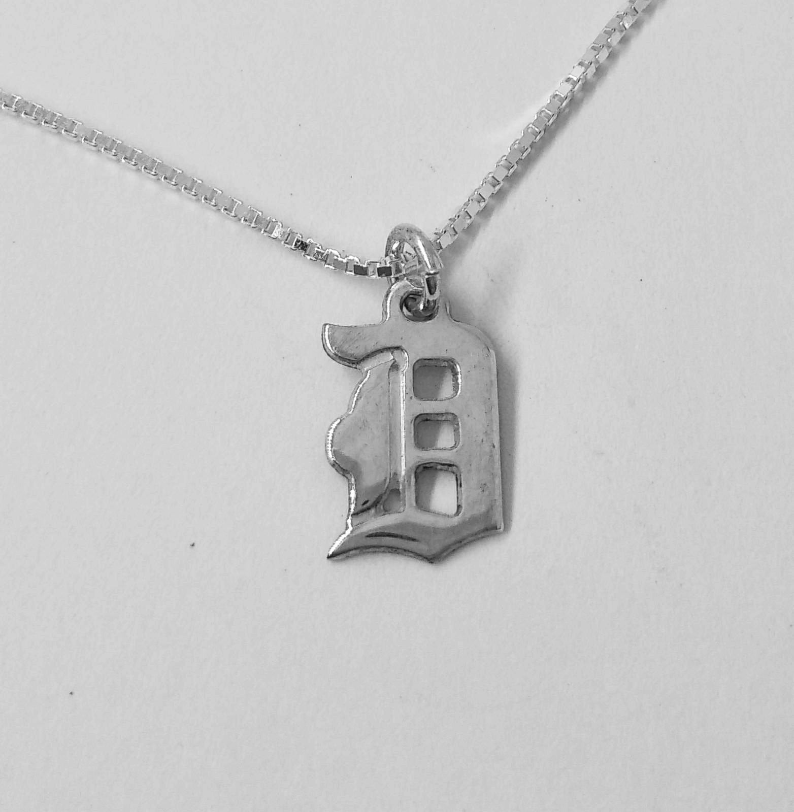 D Initial Old English Letter Charm Pendant Necklace In Sterling