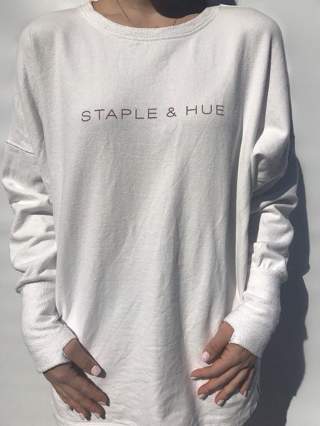 The Staple Jumper Dress - White - Staple & Hue