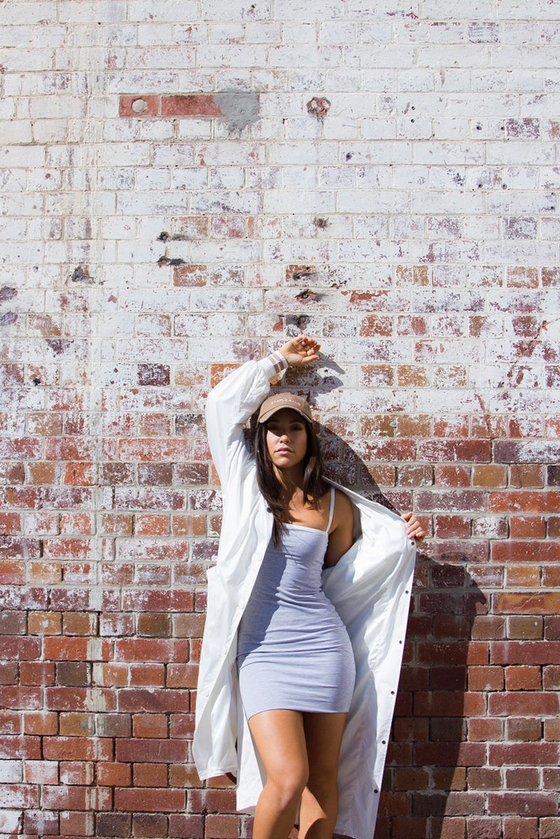 The Staple Mini Dress - Grey/White - Staple & Hue
