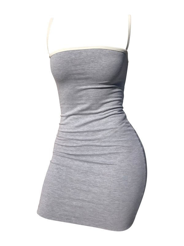 The Staple Mini Dress - Grey/White - Staple & Hue - bodycon mini dress australia - Australian Designer - Premium Fabrics - Celebrity Fashion - Luxe - Basics - Kylie Jenner - Khloe Kardashian - ladies clothing australia - ladies clothing online australia - Bella Hadid - Australian Fashion Brand - shop the look - staple and hue