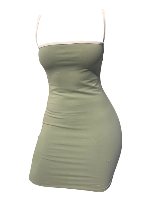 The Staple Mini Dress - Sage/White - Staple & Hue