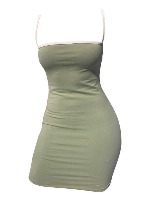 The Staple Mini Dress - Sage/White - Staple & Hue - bodycon mini dress australia - Australian Designer - Premium Fabrics - Celebrity Fashion - Luxe - Basics - Kylie Jenner - Khloe Kardashian - ladies clothing australia - ladies clothing online australia - Bella Hadid - Australian Fashion Brand - shop the look - staple and hue