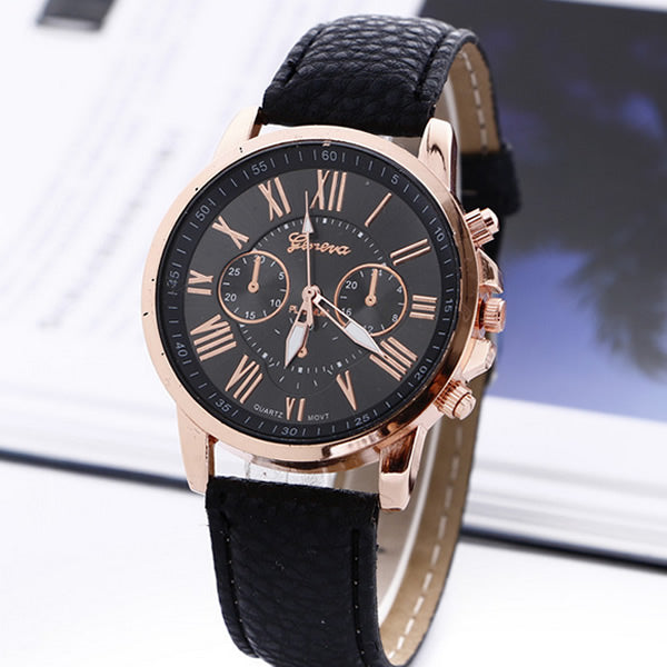Roman Numerals Faux Leather Quartz Watch