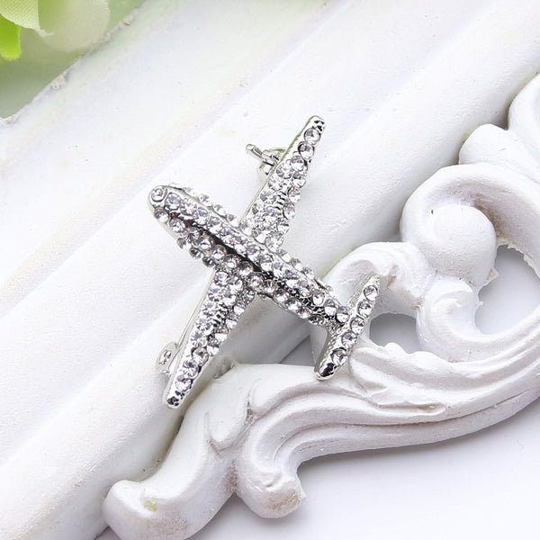 Stewardess Rhinestone Brooch