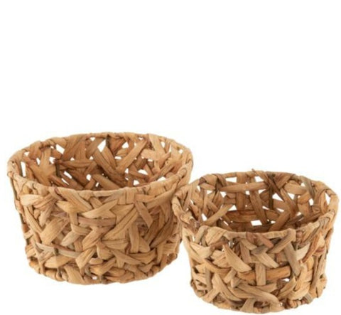 straw basket set of 2 round shape 12/23 natural color