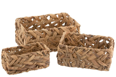 straw basket set of 3 rectangular shape 18/28 natural color