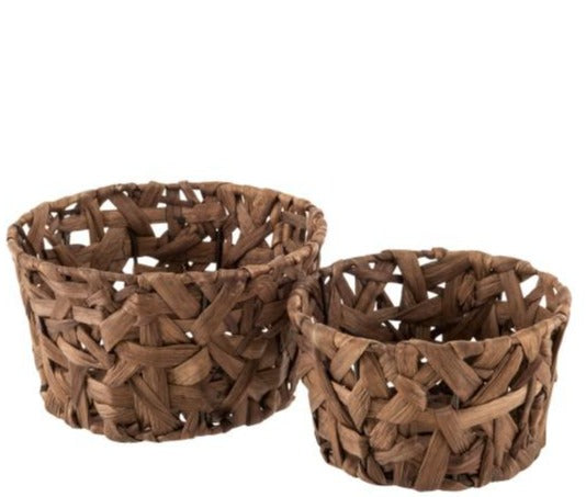 Set Of 2 Baskets Round Reed Chestnut Brown (4146)