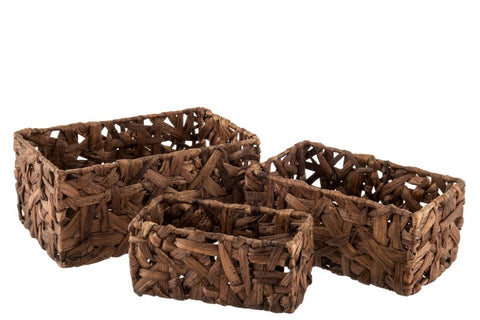 straw basket set of 3 rectangular shape 18/28 brown color
