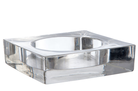 square heavy glass 14 cm ashtray