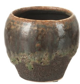 Flower Pot Transition Ceramic Green Brown 11/12
