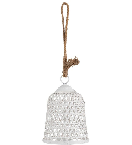 Lantern Round Bamboo/Glass white Small