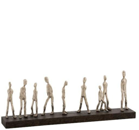 wood strip with 10 figures 65 cm silver