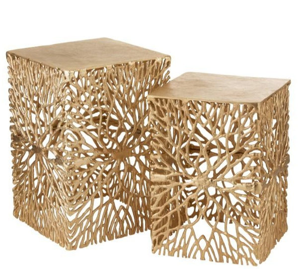 fusion metal gold square side table