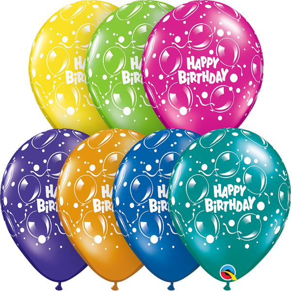 28cm Round Fantasy Assorted Birthday Sparkling Balloons #12570 - Pack of 50