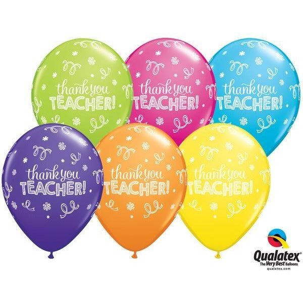 28cm Round Latex Tropical Assortment Thank You Teacher #13832 - Pack of 50 SPECIAL ORDER ITEM