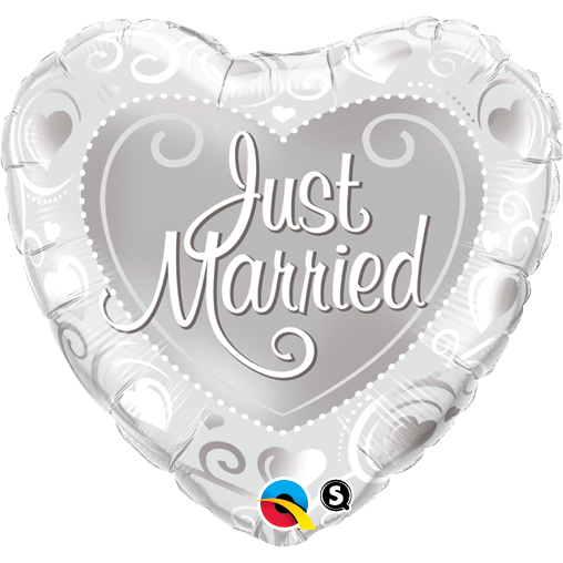 45cm Heart Foil Just Married Hearts Silver  #15816 - Each (Pkgd.)