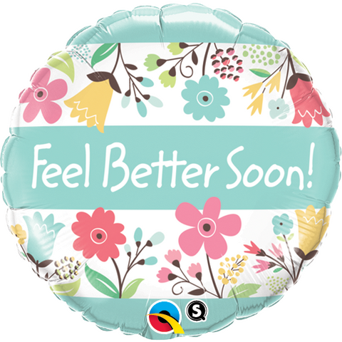 45cm Round Foil Feel Better Soon! Floral #16983 - Each (Pkgd.)