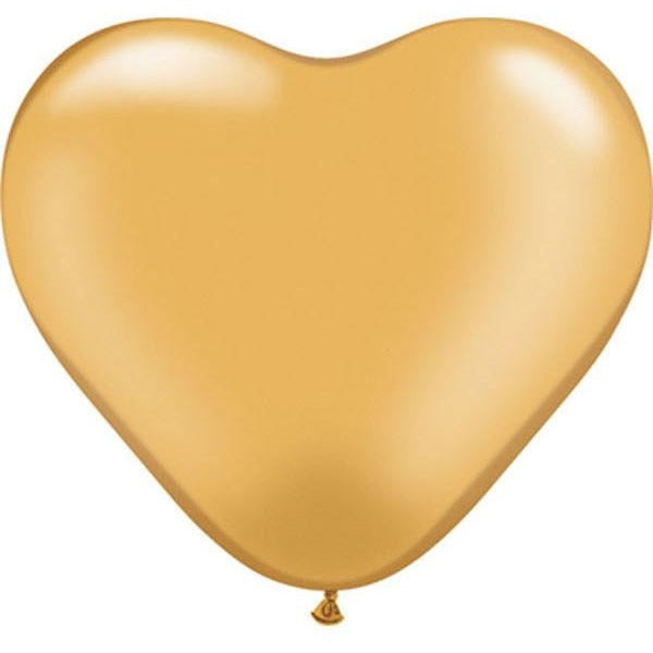15cm Heart Gold Qualatex Plain Latex #17726 - Pack of 100 SPECIAL ORDER ITEM