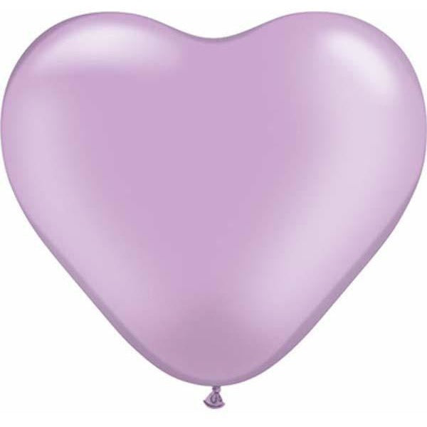 15cm Heart Pearl Lavender Qualatex Plain Latex #17730 - Pack of 100 SPECIAL ORDER ITEM