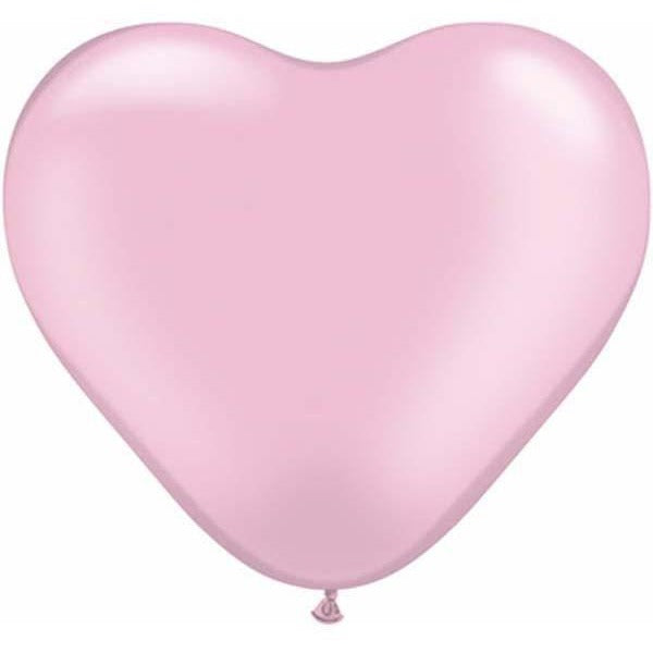 15cm Heart Pearl Pink Qualatex Plain Latex #17731 - Pack of 100 SPECIAL ORDER ITEM
