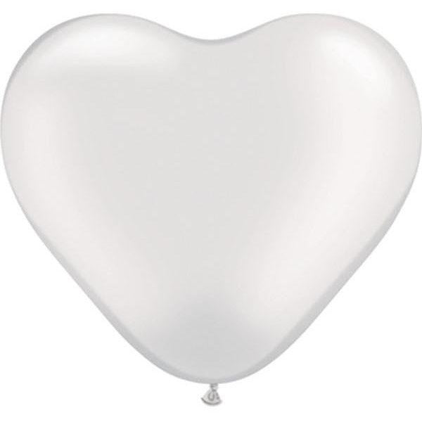 15cm Heart Pearl White Qualatex Plain Latex #17732 - Pack of 100 SPECIAL ORDER ITEM