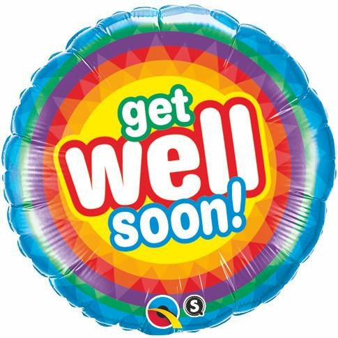 45cm Round Foil Get Well Soon Radiant #18021 - Each (Pkgd.)