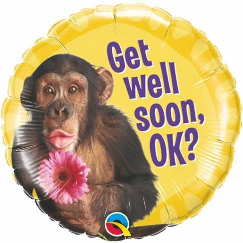 45cm Round Foil Get Well Chimp With Flower #46253 - Each (Pkgd.)